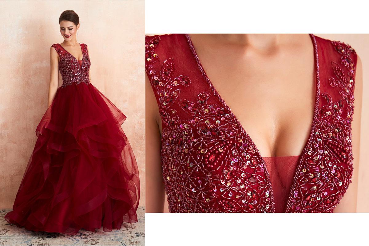 Robe de soirée princesse 2020 rouge vin haut orné de bijoux jupe fantaisie