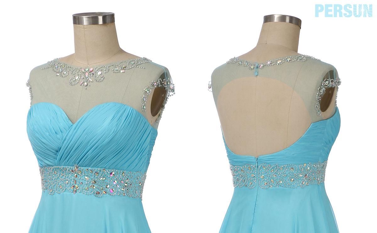 robe demoiselle d'honneur longue bleu turquoise col illusion embelli de strass avec mancheron