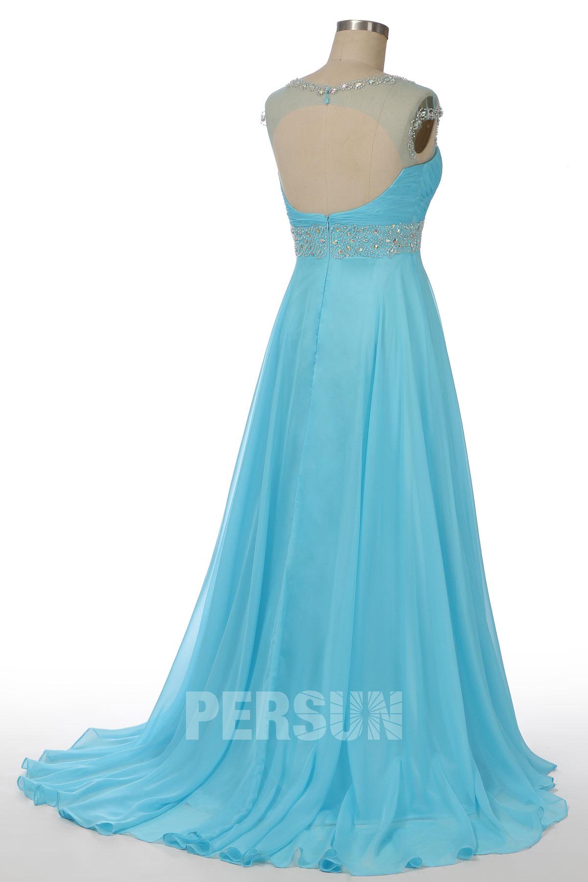 robe de soirée longue turquoise dos ouvert col illusion bustier coeur embelli de bijoux