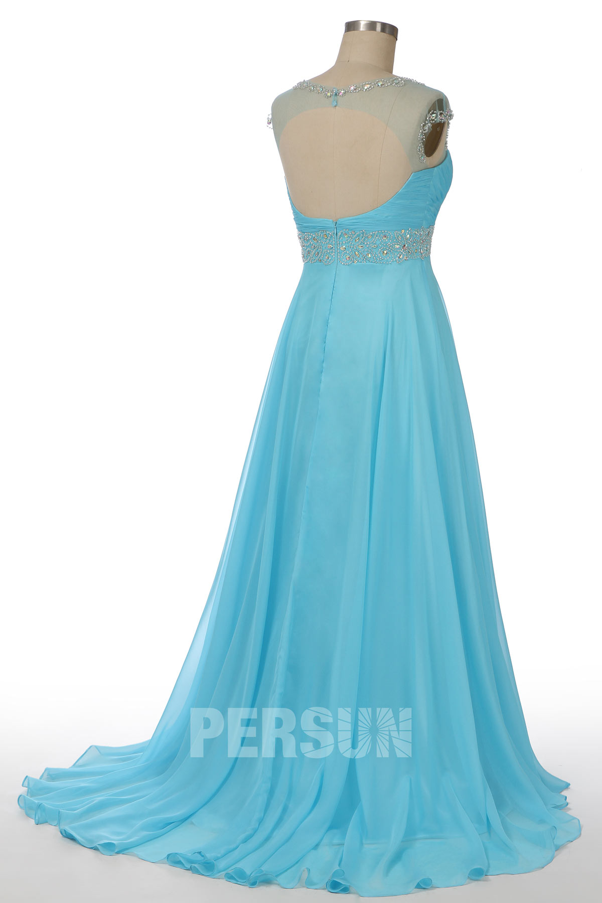 robe de cocktail longue bleu mancheron dos nu col illusion bustier coeur embelli de bijoux