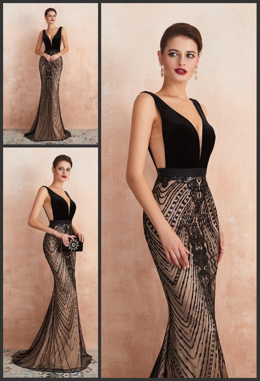 robe cérémonie sirène noire en velours col v plongeant jupe brodé de strass