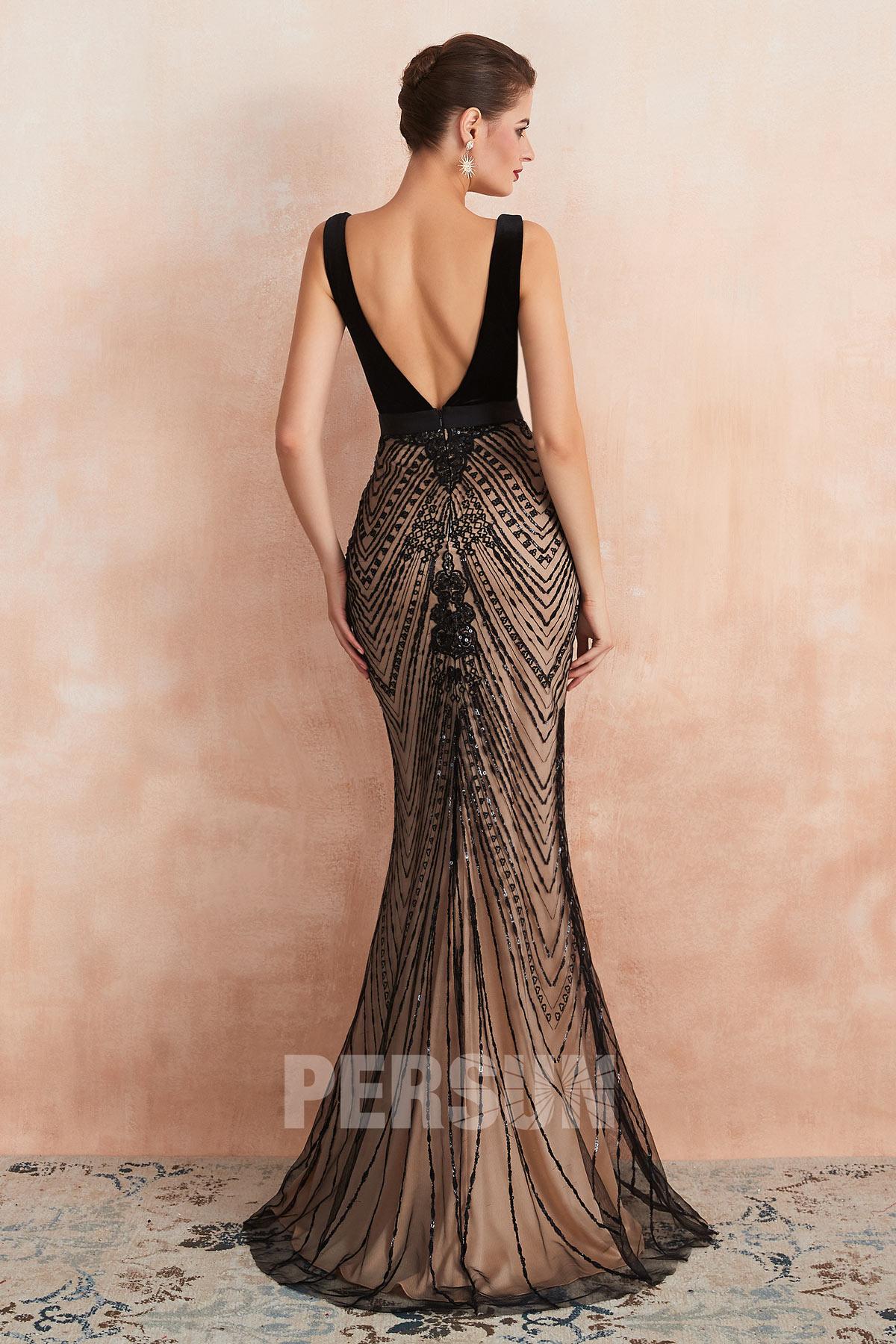 robe de soirée sirène noire col v plongeant dos nu jupe embelli de bijoux