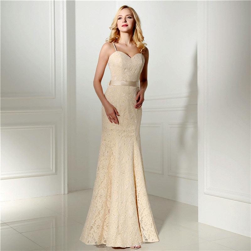 robe de mariée champagne sirène en dentelle bustier à bretelles spaghetti