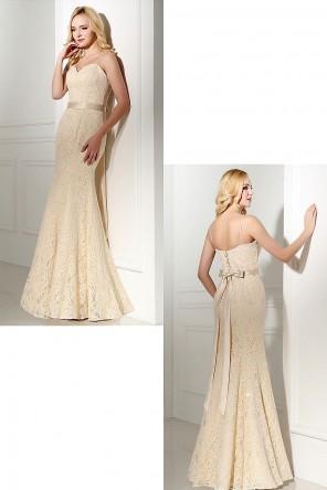 Robe soirée sirène champagne clair dentelle bustier coeur pour mariage