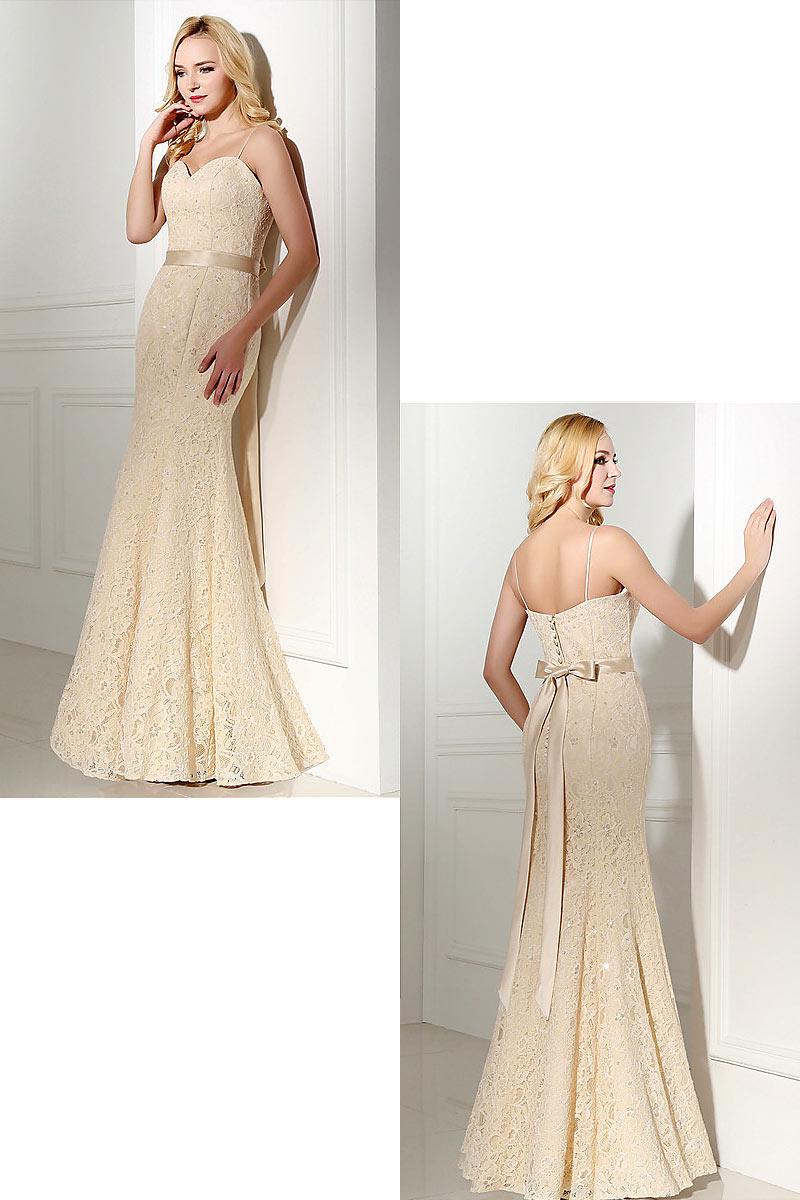 robe mariée sirène champagne clair dentelle avec bretelle spaghetti