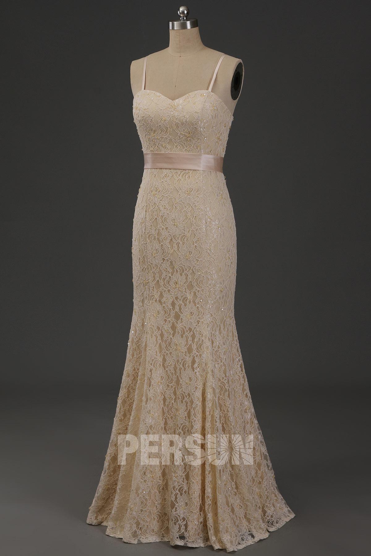 robe de mariée sirène champagne bustier coeur à bretelle fine en dentelle