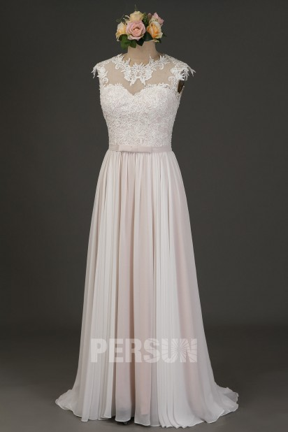 Lina : Robe de mariage longue mousseline ivoire doublure rose pâle à bustier guipure