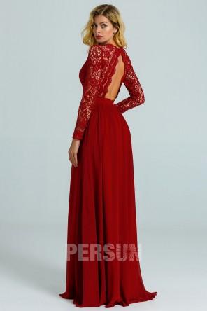 Robe cérémonie longue rouge bordeaux à haut guipure manche longue dos ouvert