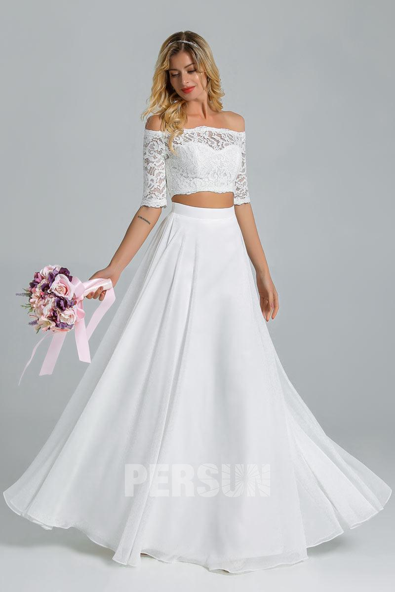 robe mariée bohème deux pièces haut dentelle pour mariage champêtre