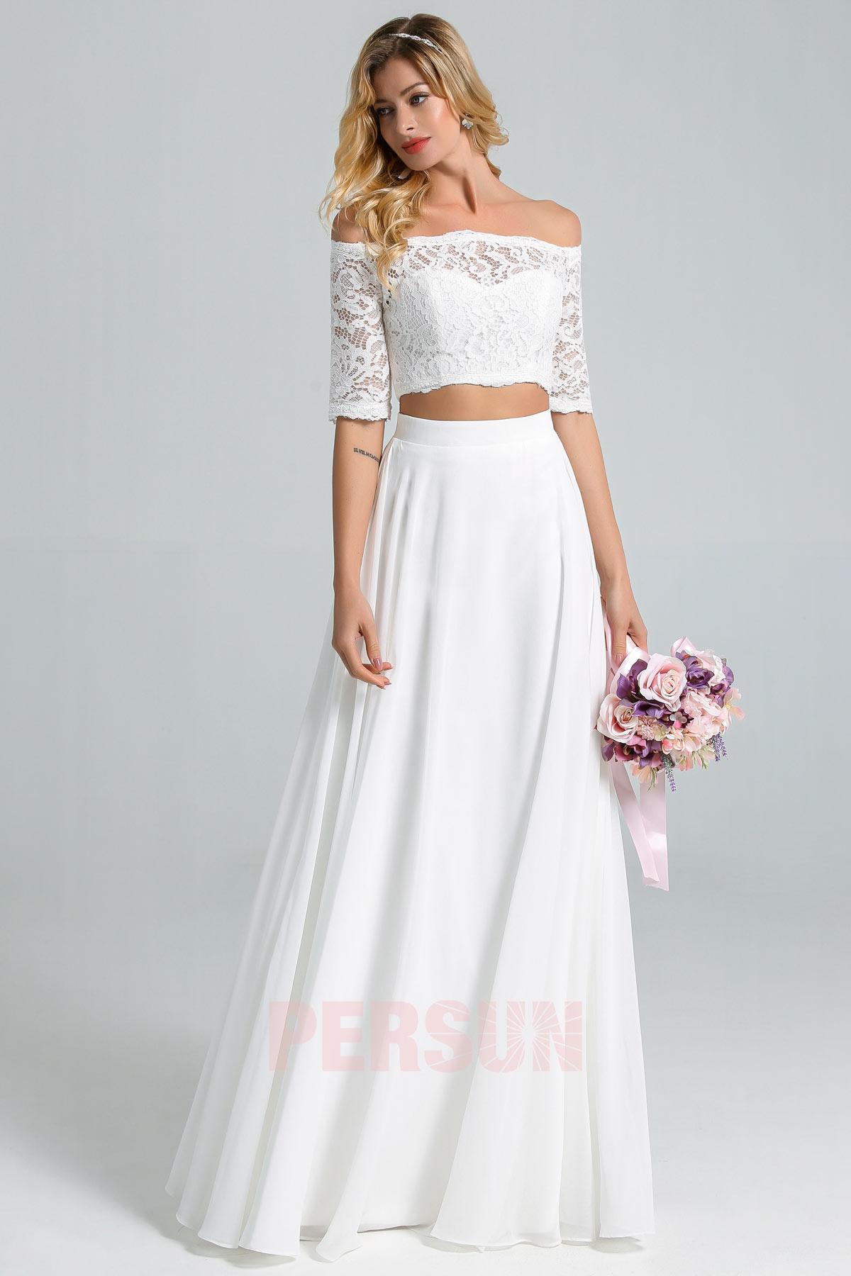 robe de mariage 2 pièce haut en dentelle col bardot manche courte