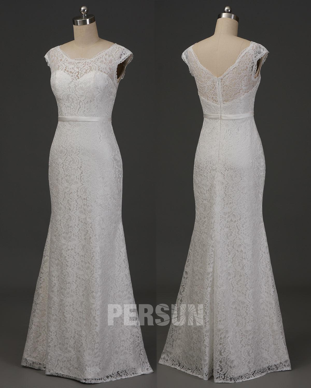 robe de mariée fourreau col bateau festonné en dentelle à mancheron