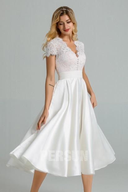 Roselyne : Robe midi vintage pour mariage civil haut dentelle avec mancherons