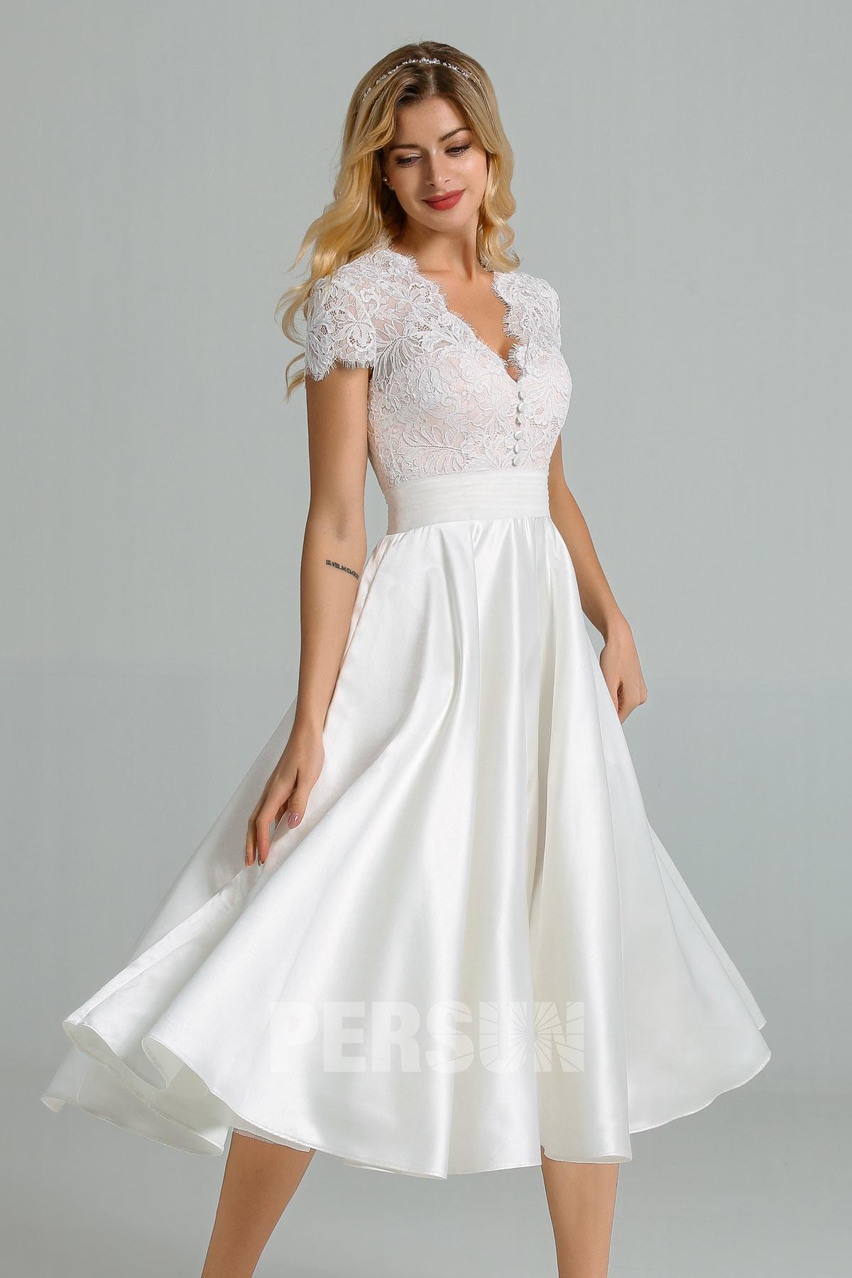 robe midi vintage mariée haut dentelle col v avec mancherons