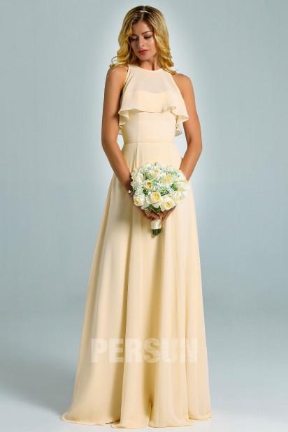 Robe rose perle longue à haut volants pour cortège de mariage