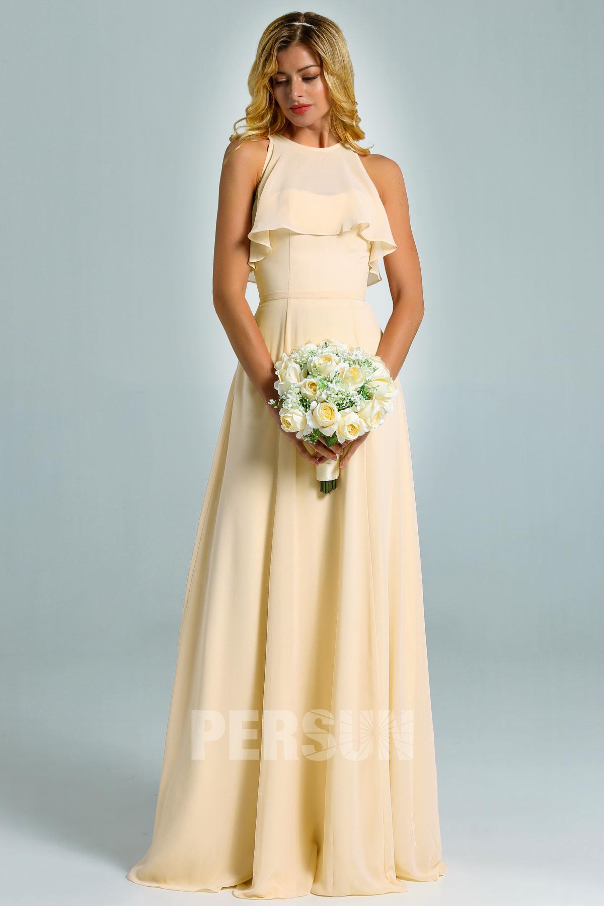robe demoiselle d'honneur longue jaune simple bustier à volant