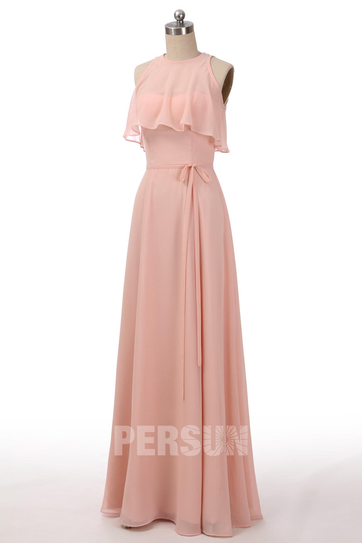 robe demoiselle honneur longue rose perle bustier à volant avec ceinture noeud papillon
