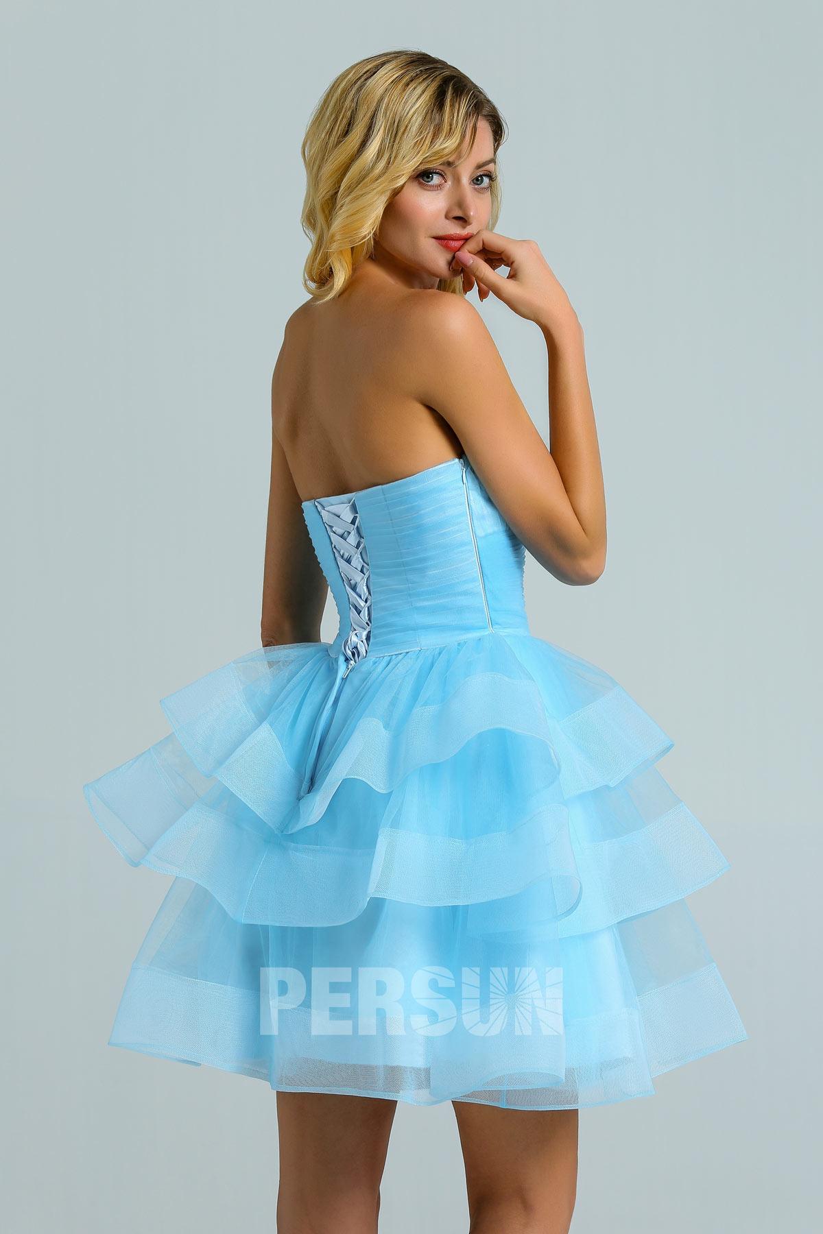 Mini robe de bal bleu ciel bustier coeur avec jupe patineuse