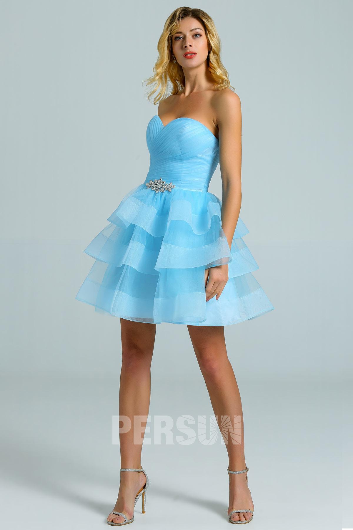 robe de cocktail courte bleu ciel bustier coeur jupe patineuse