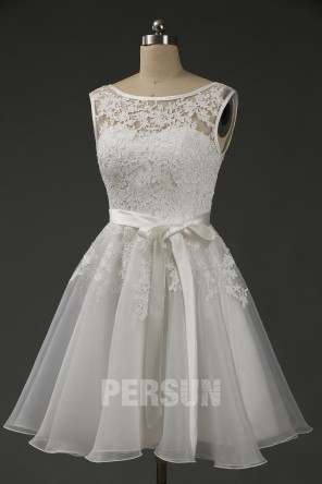Robe de soirée courte bloc couleur parme & blanc cassé jupe ample