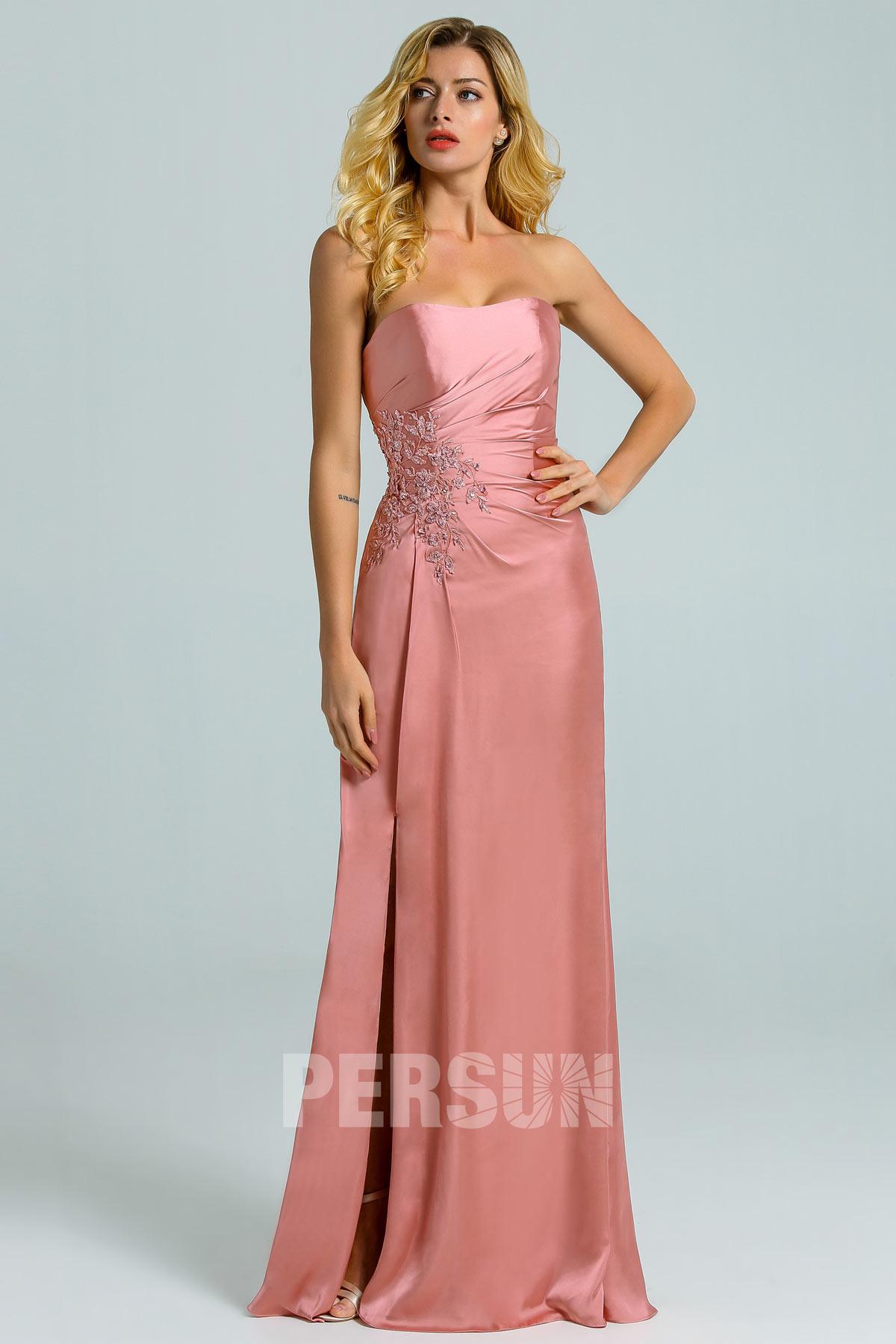 robe cérémonie fendue rose carnation bustier avec détails dentelle