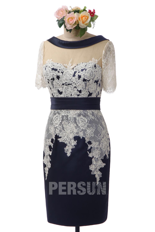 robe de cocktail bleu nuit fourreau col illusion en dentelle appliquée manche courte