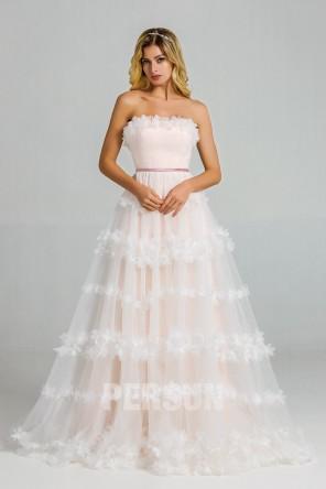 Clarisse : Romantique robe de mariée florale doublure rose poudré bustier droit