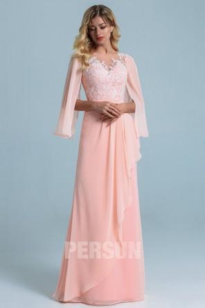 Robe soirée longue bohème rose perle bustier brodé avec manche cape