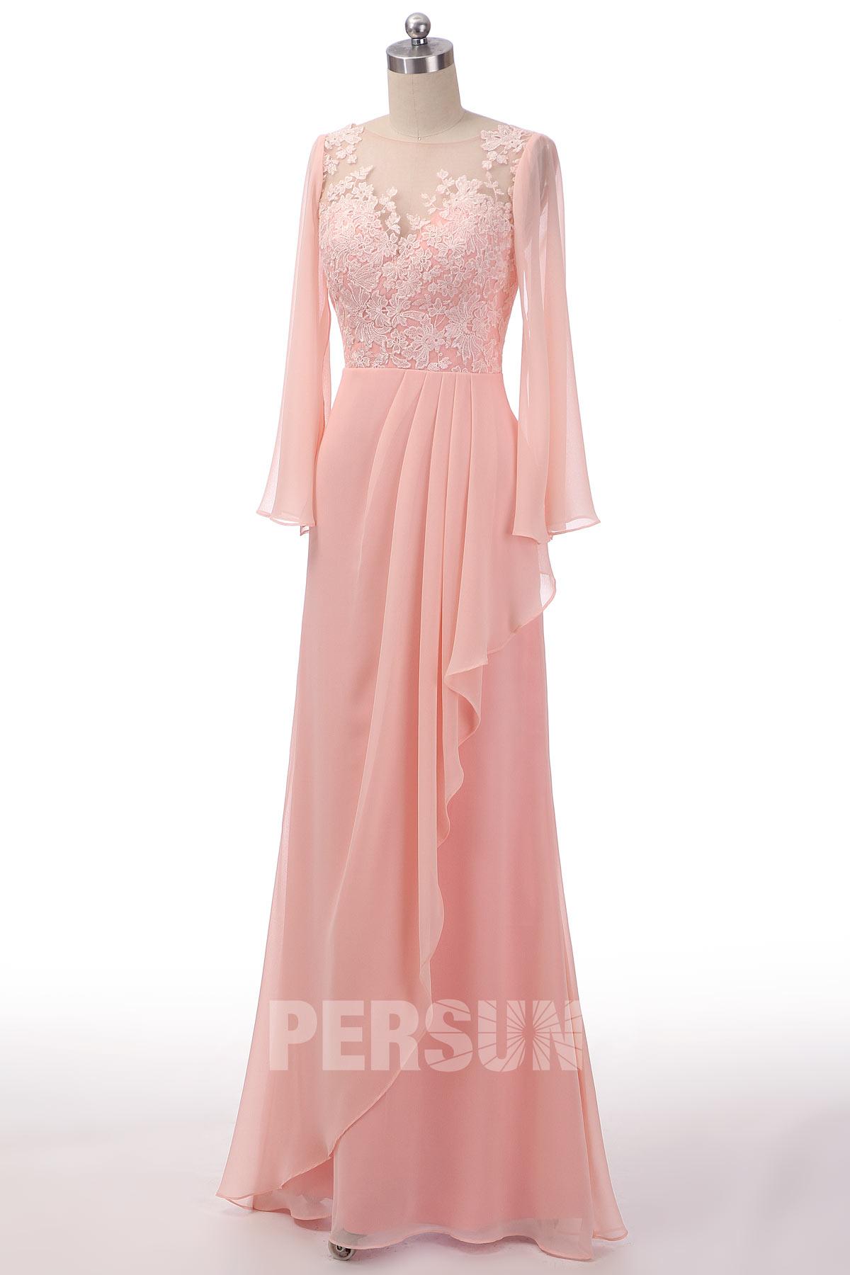 robe de soirée longue rose perle col illusion appliquée de dentelle à manche longue évasée