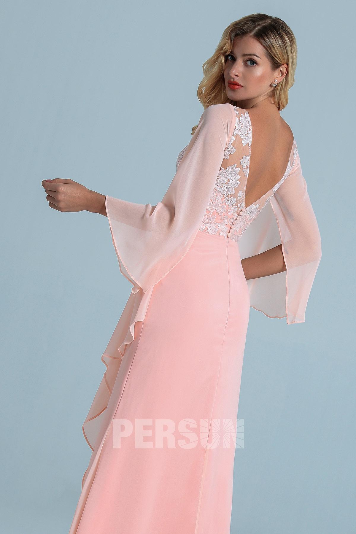 robe de soiree longue rose haut en dentelle appliquée à manche longue