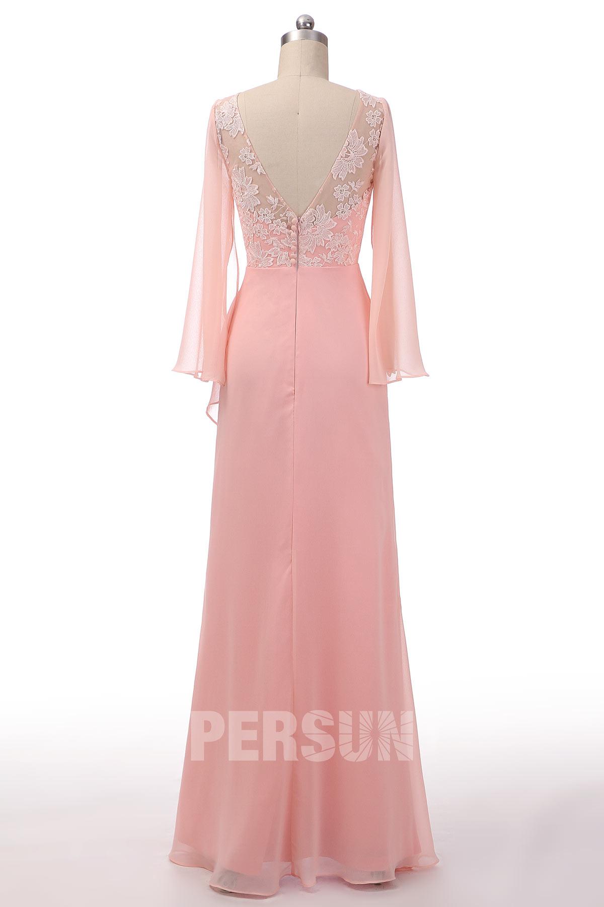 Robe longue rose perle boho haut en dentelle appliquée avec manche longue