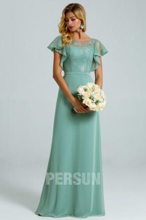Robe pour soirée mariage dentelle vert jade manches volant dos ajouré