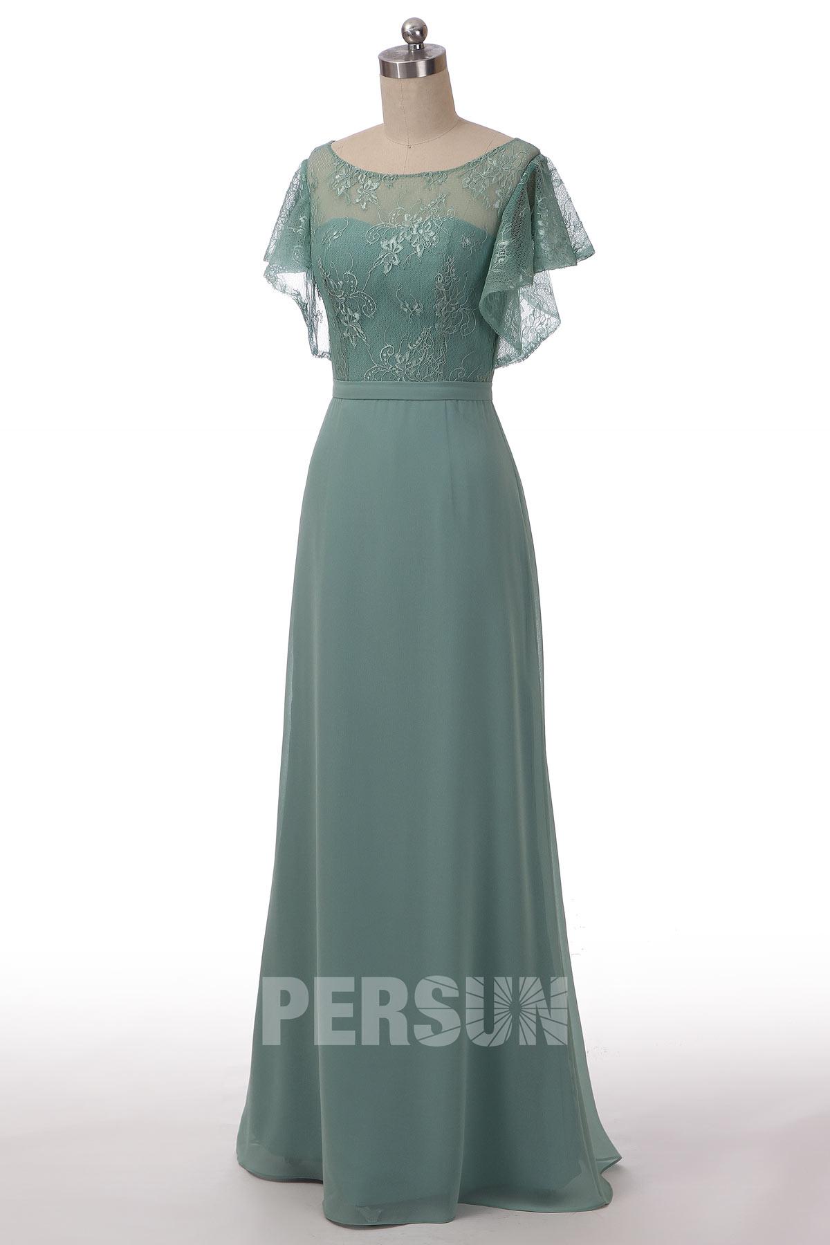robe mère mariée vert jade longue haut en dentelle florale à manche courte à volant
