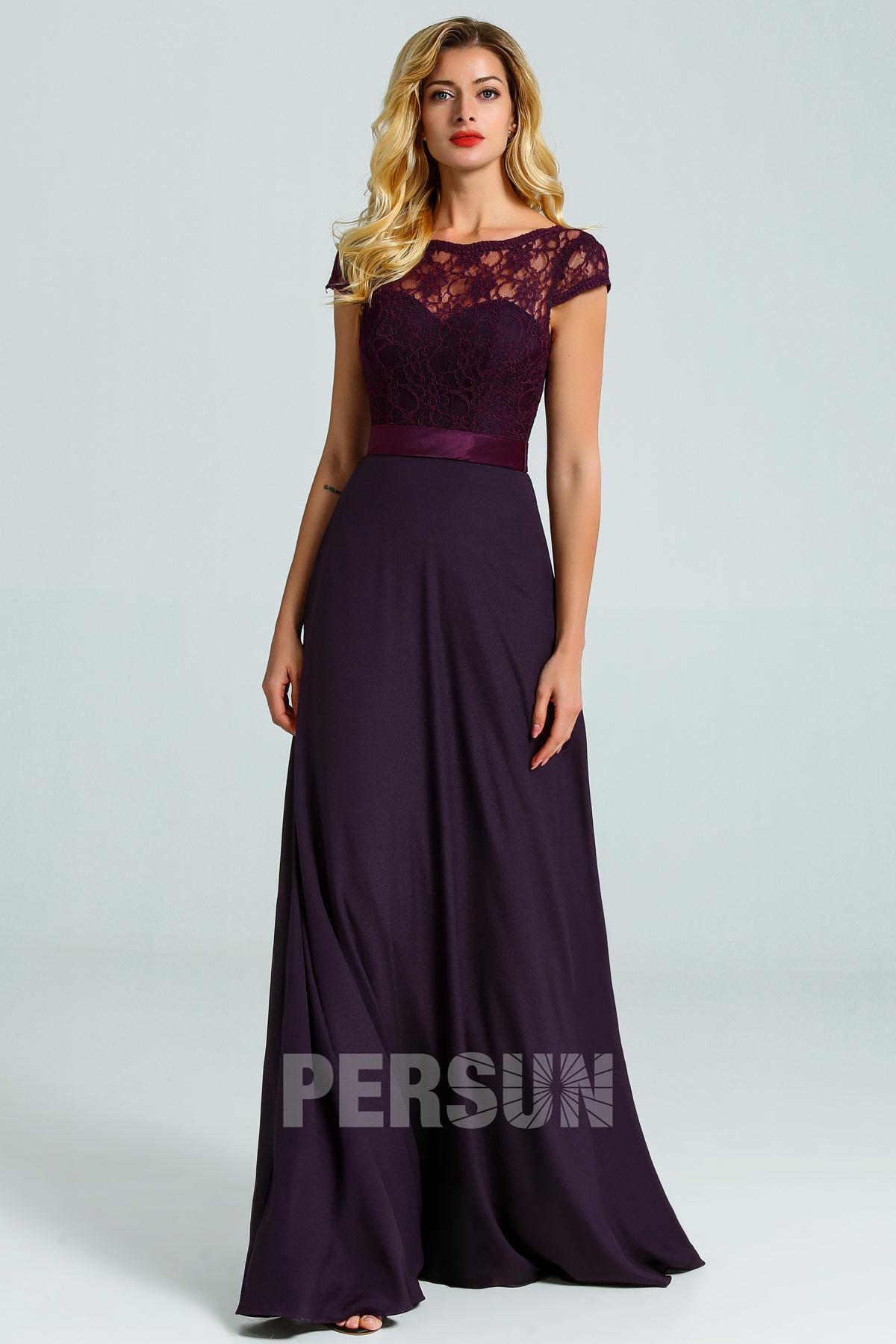 robe de soirée longue prune avec haut détachable en dentelle
