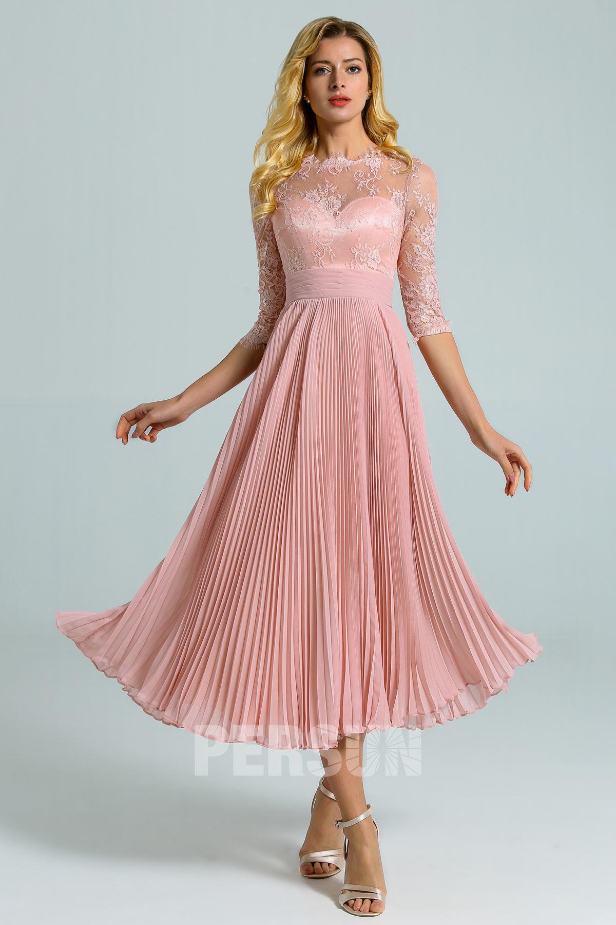 robe de cocktail rose chair mi-longue haut en dentelle avec manches jupe plissé