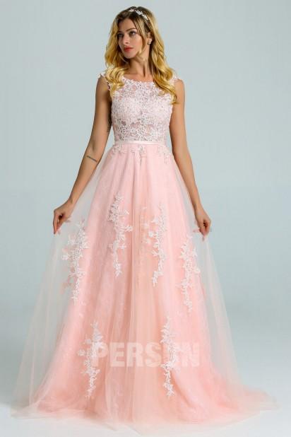 Adeline : Vintage Robe de mariée dentelle rose perle dos v