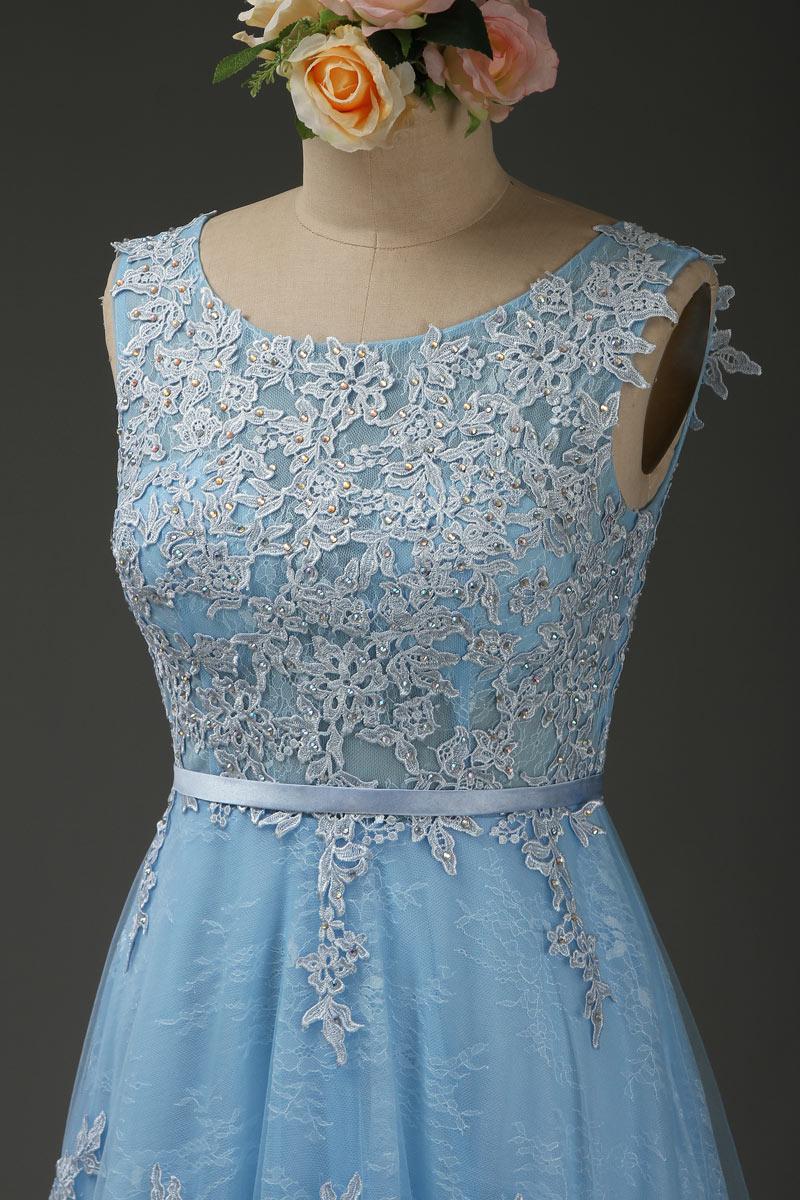 Elégant robe de soirée rose perle haut en dentelle guipure à dos ouvert
