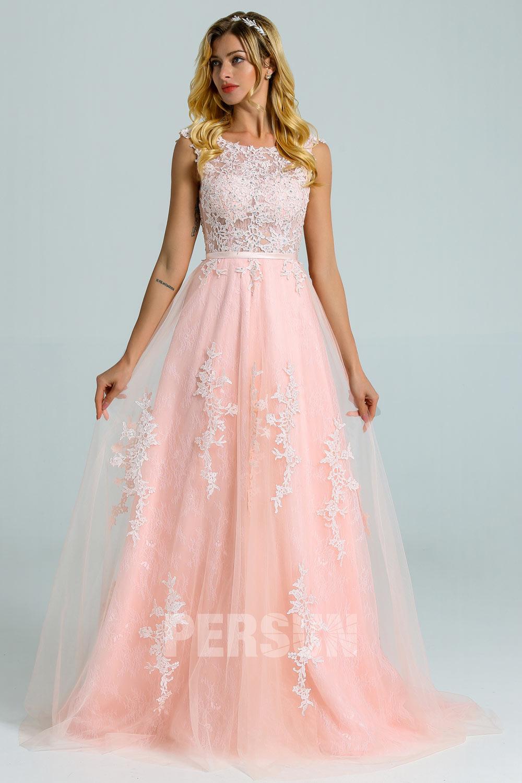 robe de mariée rose perle haut illusion en dentelle appliquée