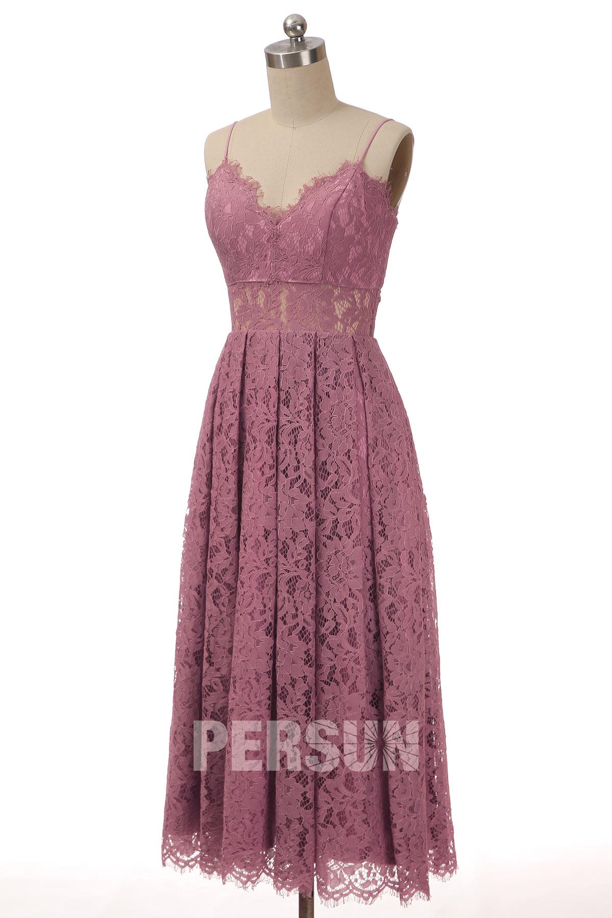 robe demoiselle honneur mi-longue rose en dentelle col v à bretelle fine taille transparente