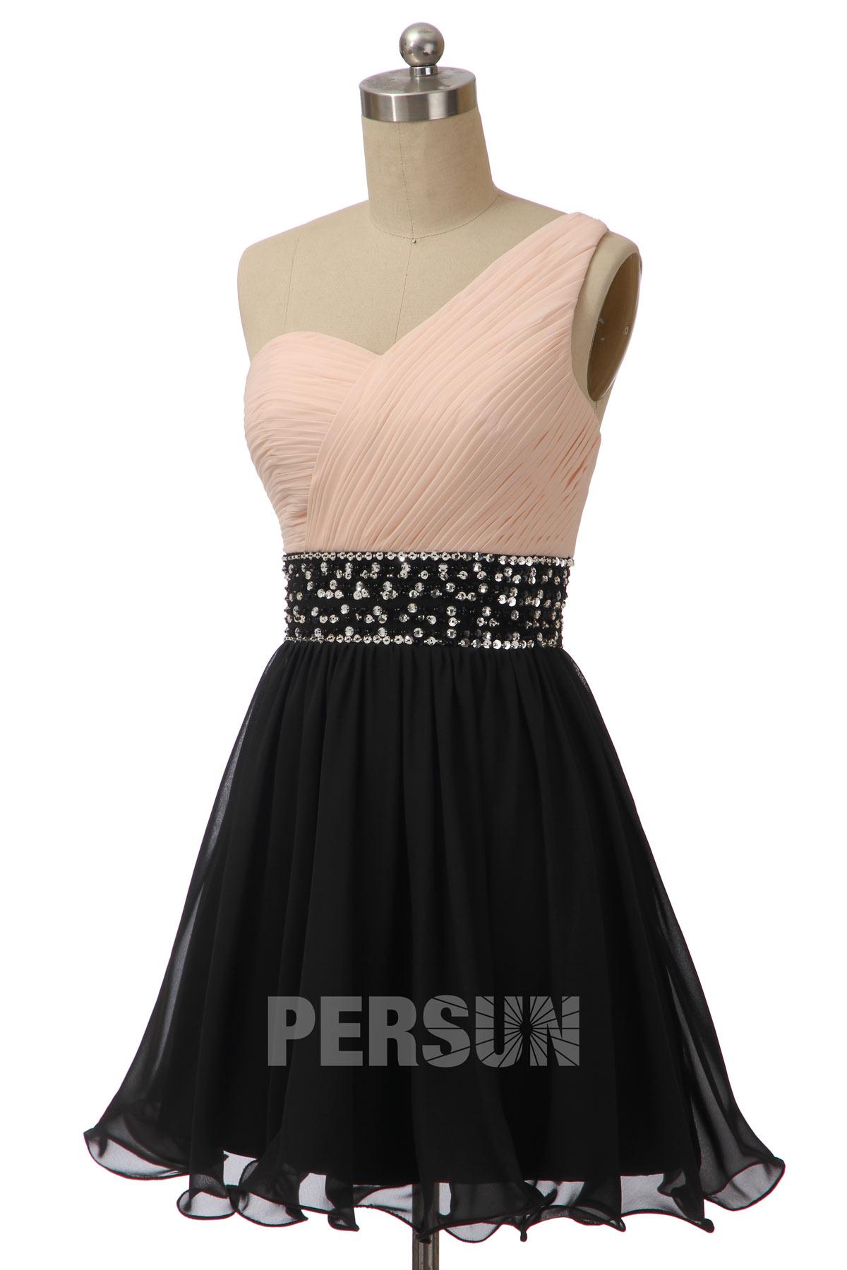 robe de cocktail courte asymétrique bicolore taille ornée de strass