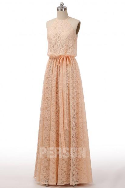 Robe soirée dentelle décontractée couleur nude col américain pour mariage