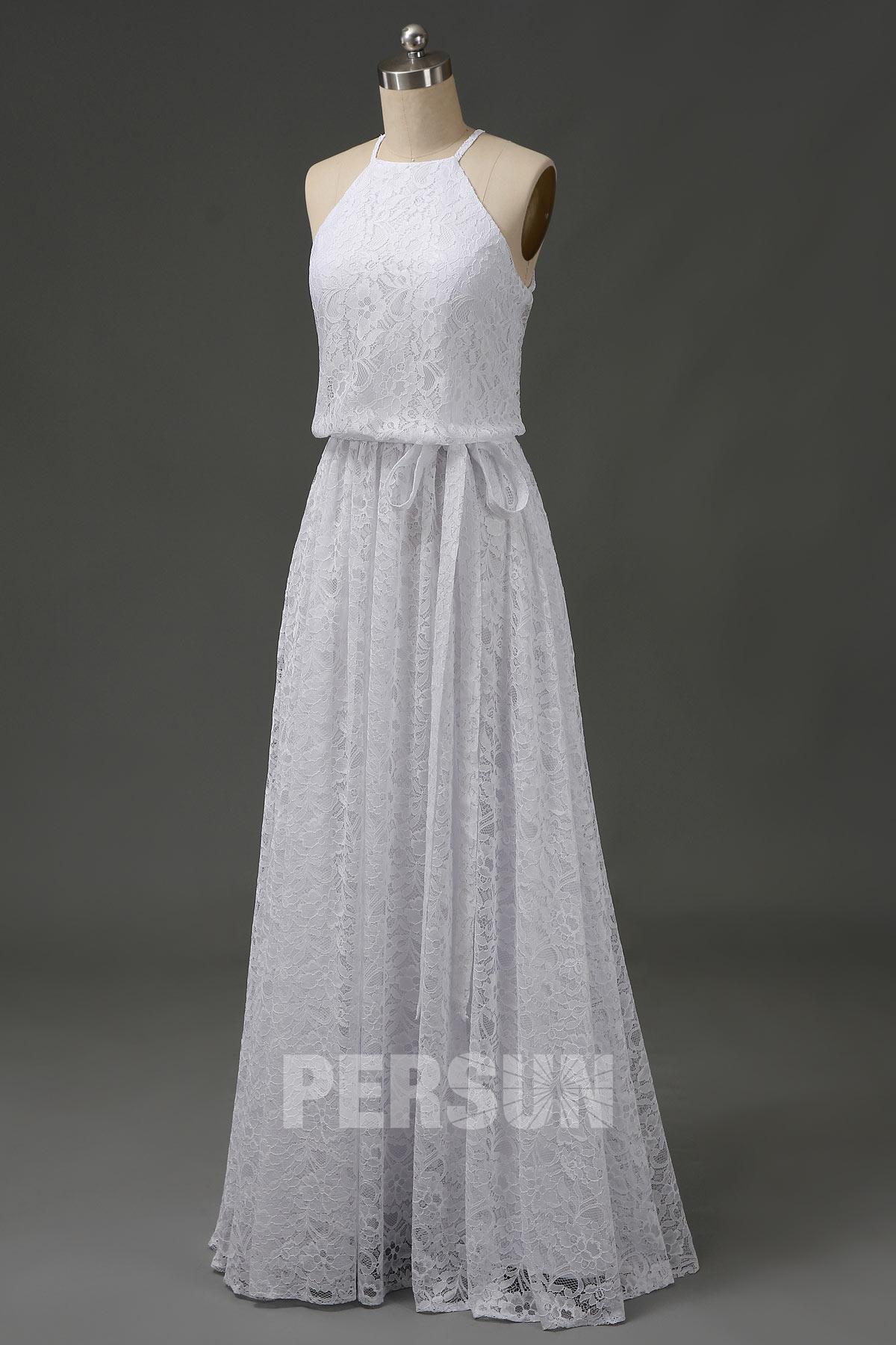 robe de mariée simple décontracté col halter en dentelle