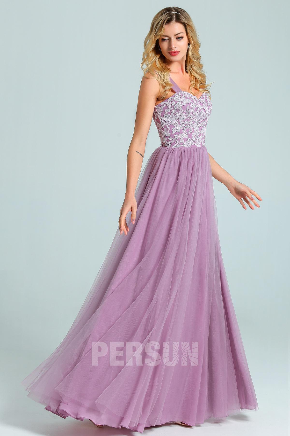 robe de soirée logue parme haut en dentelle appliquée