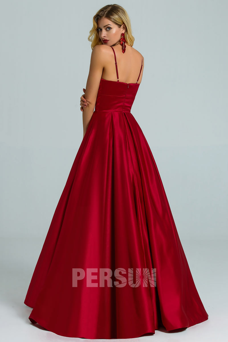 robe de soirée longue princesse bordeaux bretelle fine