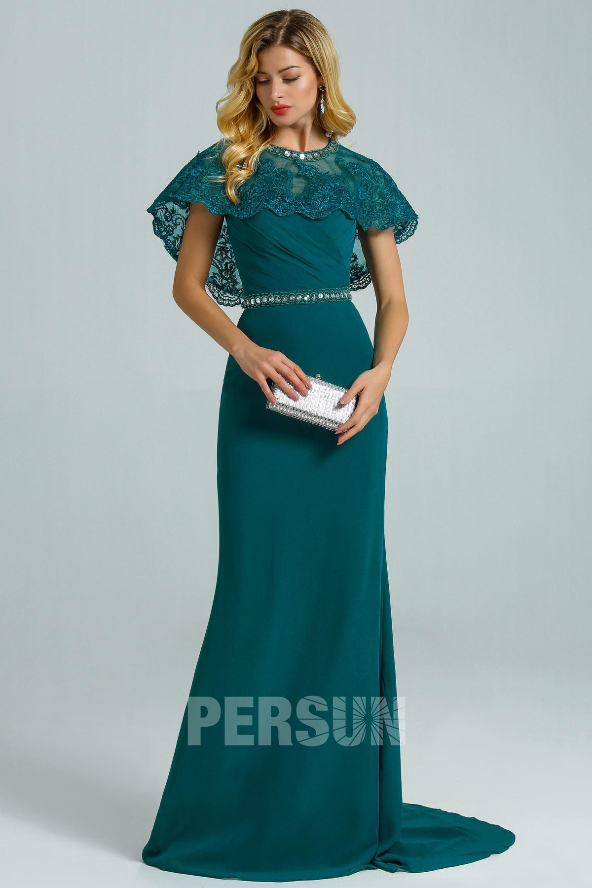 robe de soirée sirène vert émeraude avec cape dentelle