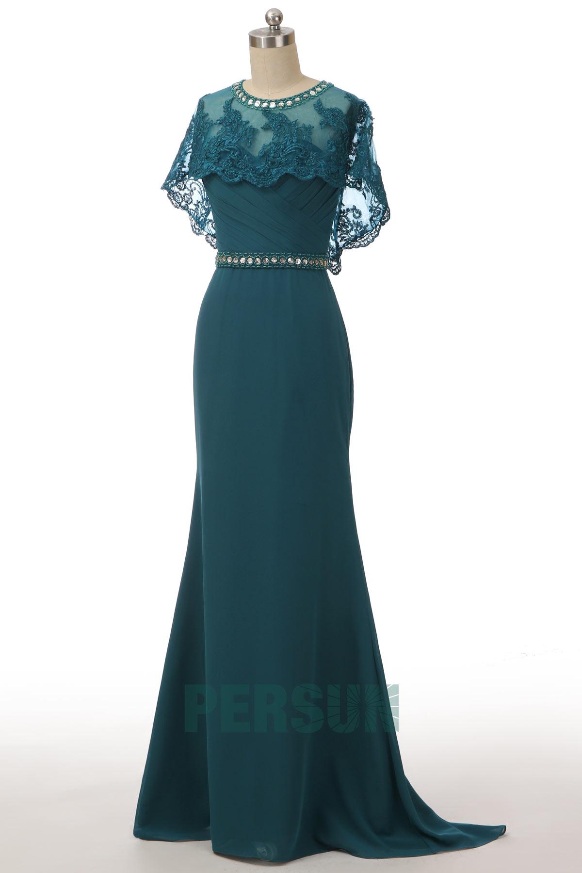 robe de soirée sirène vert pin bustier coeur taille ornée de strass avec cape en dentelle détachable
