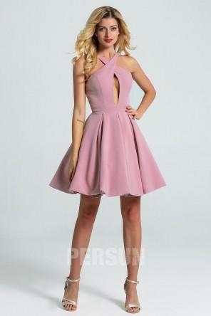 Petite robe rose parme bretelles entrecroisées dos découpé