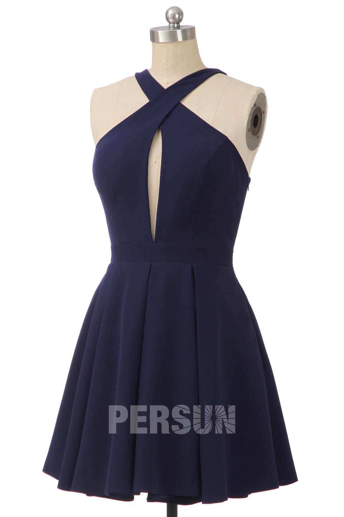 mini robe bleu nuit bustier découpé à bretelle entrecroisé dos nu jupe évasée