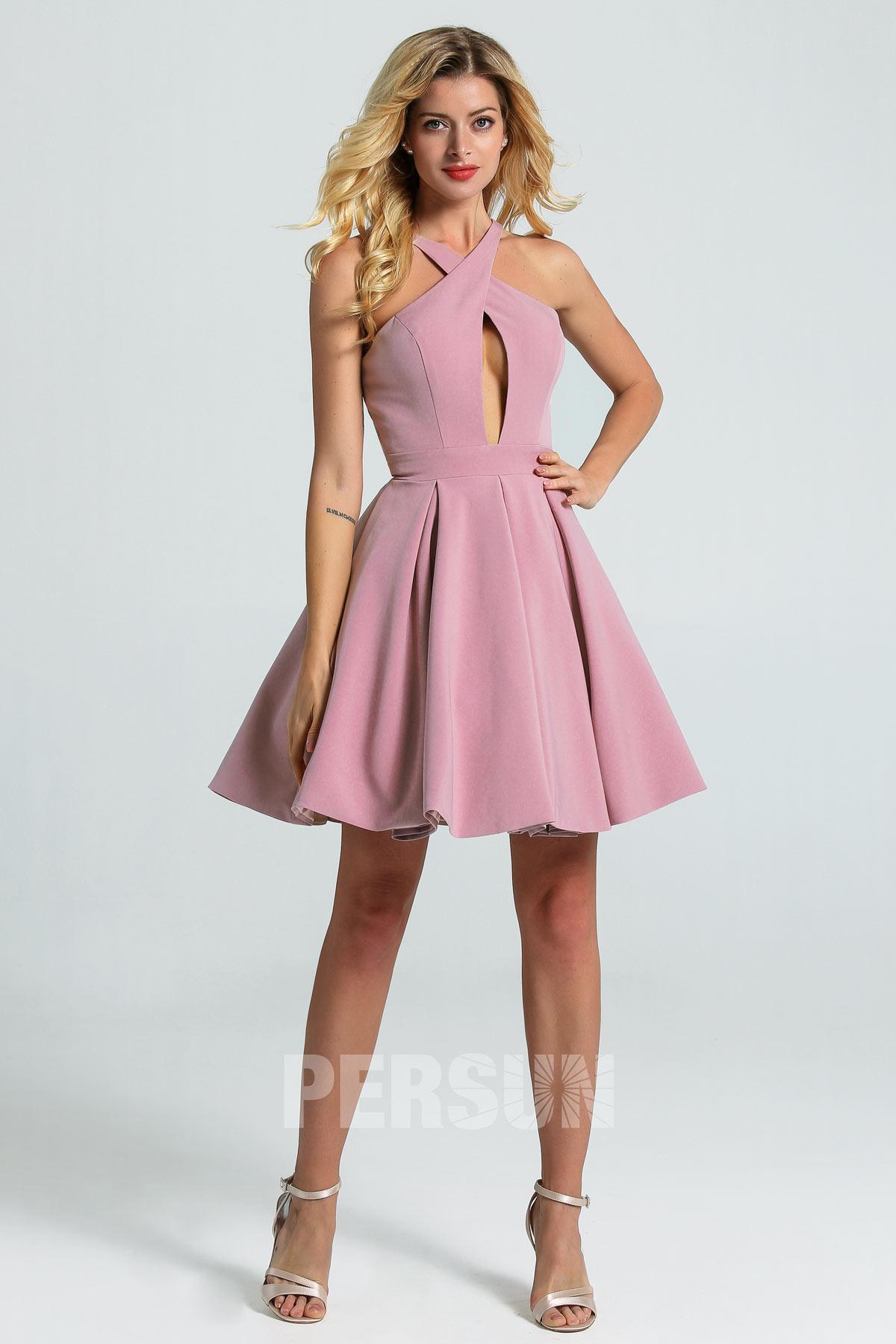 robe cocktail courte jersey rose parme col halter croisé jupe évasée