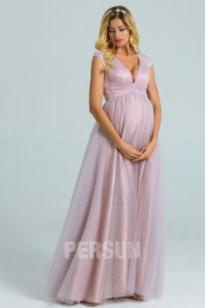 Robe de soirée tulle parme clair pour femme enceinte à dos dentelle