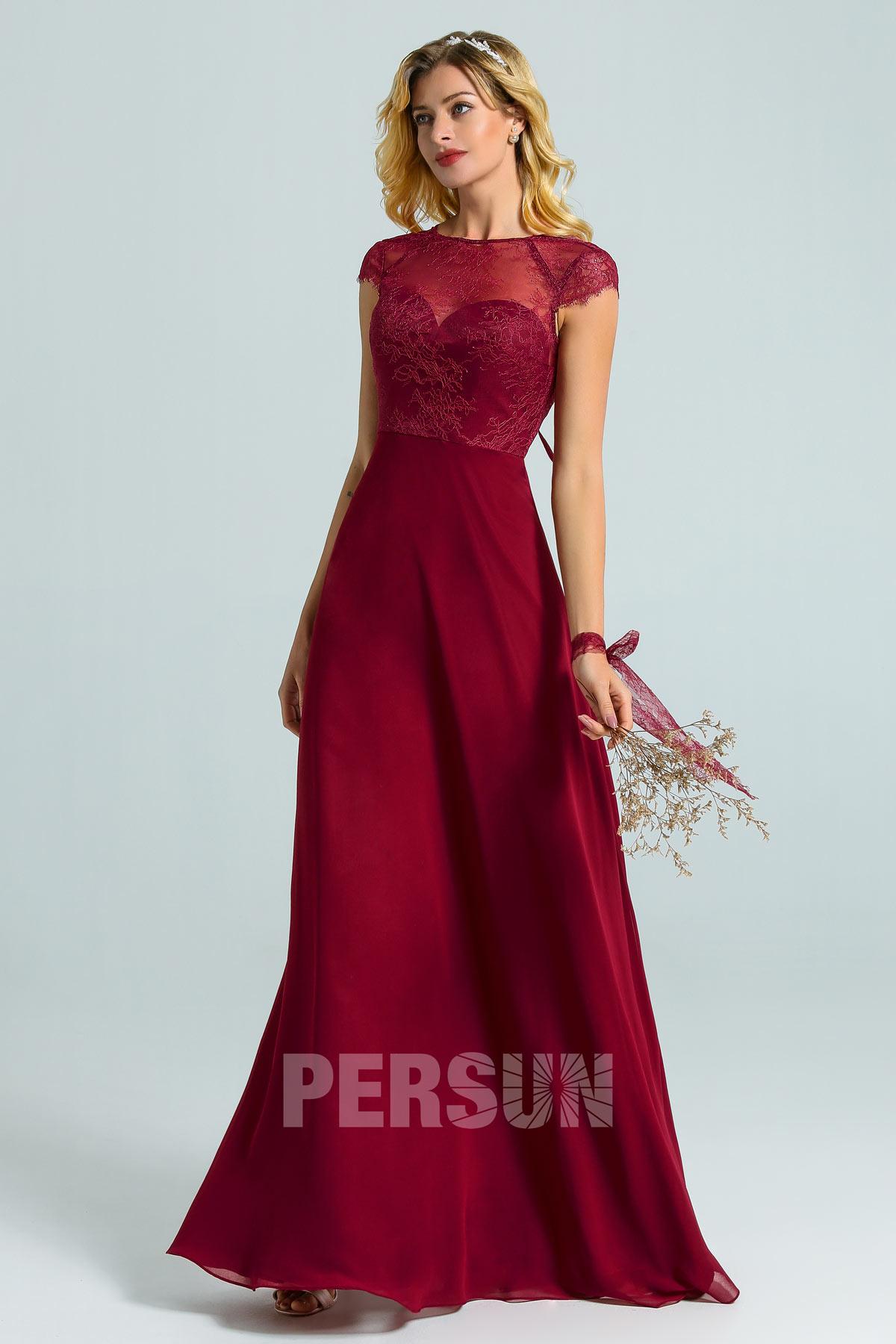 robe demoiselle d'honneur longue bordeaux haut dentelle avec mancherons feston